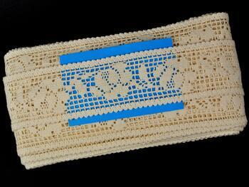Cotton bobbin lace insert 75269, width53mm, ecru - 2