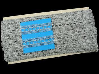Metalic bobbin lace insert 75281, width18mm, Lurex silver - 2