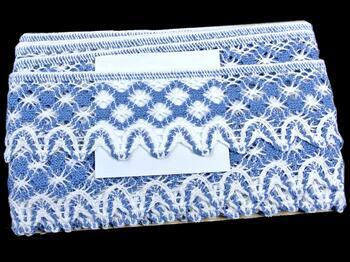 Cotton bobbin lace 75293, width 68 mm, white/sky blue - 2