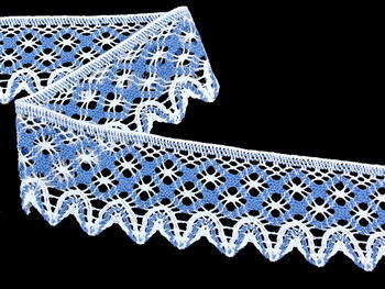 Bobbin lace No. 75293 white/sky blue 30 m - 2
