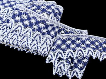 Bobbin lace No. 75293 white/dark blue | 30 m - 2