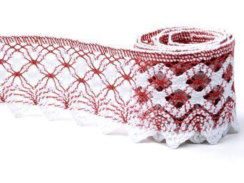 Cotton bobbin lace 75293, width 68 mm, rose/white - 2