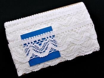 Cotton bobbin lace 75301, width 58 mm, white - 2