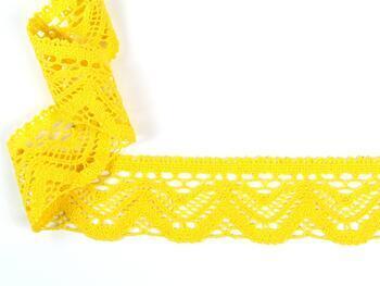 Paličkovaná krajka 75301 bavlněná, šířka 58 mm, žlutá - 2