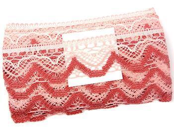 Cotton bobbin lace 75301, width 58 mm, pink/light cream/rose - 2