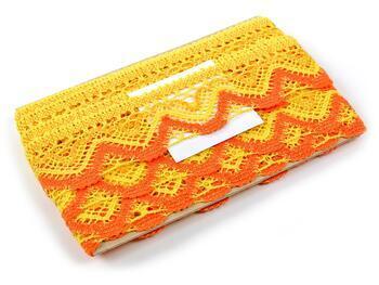 Cotton bobbin lace 75301, width 58 mm, yellow/dark yellow/rich orange - 2