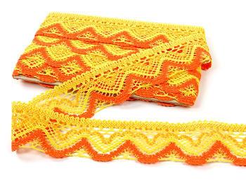 Paličkovaná krajka vzor 75301 žlutá/tmavě žlutá/sytě oranžová | 30 m - 2