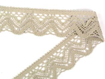 Cotton bobbin lace 75301, width 58 mm, light linen gray - 2