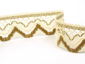 Cotton bobbin lace 75301, width 58 mm, ecru/chocolate brown - 2