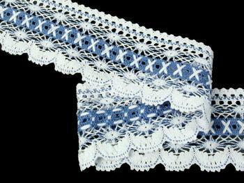Paličkovaná krajka vzor 75335 bílá/blankytně modrá | 30 m - 2
