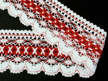 Paličkovaná krajka 75335 bavlněná, šířka75 mm, bílá/červená - 2