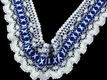 Paličkovaná krajka 75335 bavlněná, šířka 75 mm, bílá/král.modrá - 2