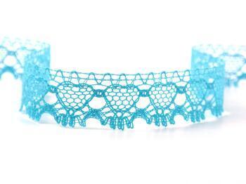 Cotton bobbin lace 75133, width 19 mm, turquoise - 2