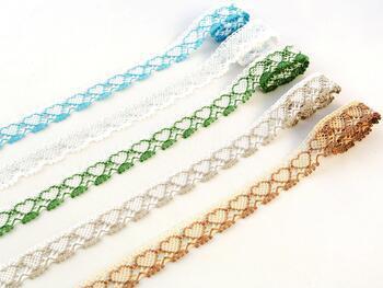 Cotton bobbin lace 75133, width 19 mm, white/grass green - 2