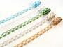 Cotton bobbin lace 75133, width 19 mm, white/grass green - 2/2