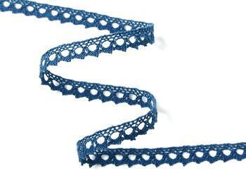 Paličkovaná krajka 75361 bavlněná, šířka9 mm, mořská modrá - 2