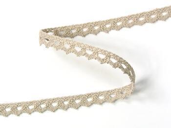Cotton bobbin lace 75361, width 9 mm, light linen gray - 2