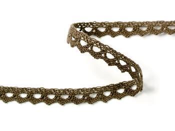 Cotton bobbin lace 75361, width 9 mm, light brown - 2