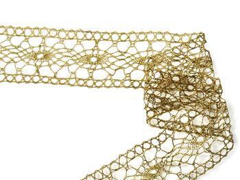 Paličkovaná vsadka 75384 metalická, šířka45mm, Lurex zlatý antik) - 2
