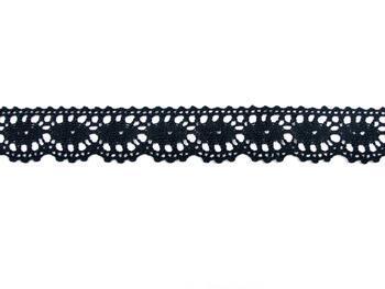 Cotton bobbin lace 75394, width 25 mm, black - 2