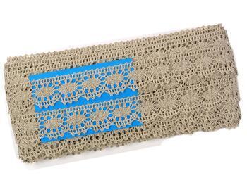 Linen bobbin lace 75394, width 25 mm, 100% linen natural - 2