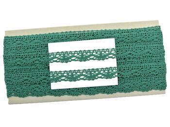 Paličkovaná krajka 75395 bavlněná, šířka16 mm, tm.zelená - 2