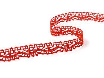 Paličkovaná krajka 75395 bavlněná, šířka16 mm, červená - 2