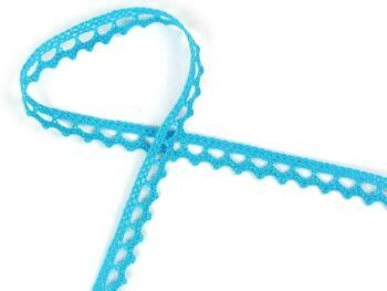 Cotton bobbin lace 75397, width 9 mm, turquoise - 2