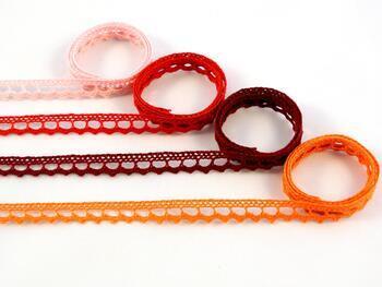 Paličkovaná krajka 75397 bavlněná, šířka9 mm, sytě oranžová - 2
