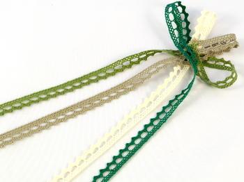Paličkovaná krajka vzor 75397  zelená olivová | 30 m - 2
