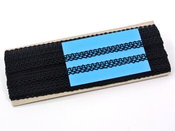 Cotton bobbin lace 75405, width 10 mm, black - 2