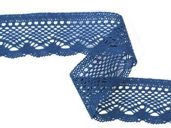 Paličkovaná krajka 75414 bavlněná, šířka55 mm, mořská modrá - 2