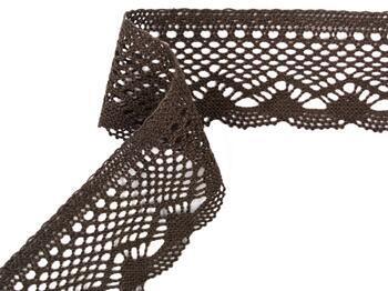 Cotton bobbin lace 75414, width 55 mm, dark brown - 2