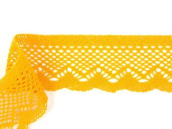Paličkovaná krajka 75414 bavlněná, šířka55 mm, tm.žlutá - 2