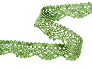 Paličkovaná krajka 75423 bavlněná, šířka26 mm, zelená olivová - 2