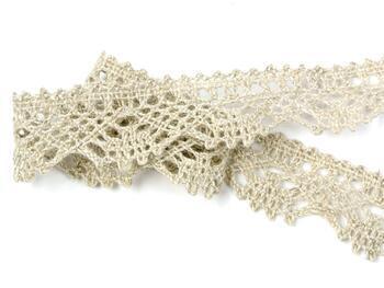 Paličkovaná krajka 75423 bavlněná, šířka26 mm, směs bavlna + len - 2