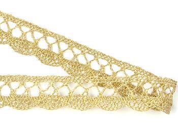 Paličkovaná krajka 75428 metalická, šířka18 mm, Lurex zlatý bílý) - 2