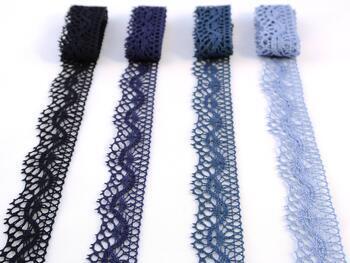 Paličkovaná krajka 75416 bavlněná, šířka27 mm, tm.modrá - 2