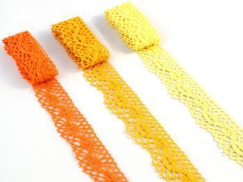 Cotton bobbin lace 75416, width 27 mm, dark yellow - 2