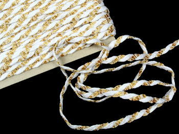 Bobbin lace No. 75481 white/gold | 30 m - 2