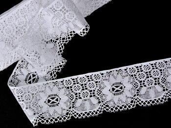 Paličkovaná krajka vzor 75501 bílá | 30 m - 2