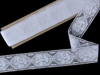Paličkovaná vsadka vzor 75513 bílá | 30 m - 2