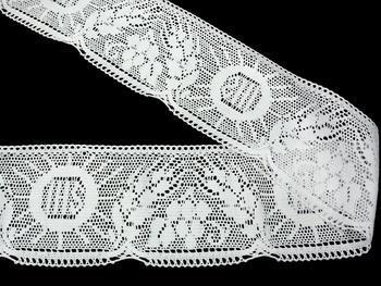 Paličkovaná krajka vzor 75514 bílá | 30 m - 2