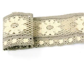 Bobbin lace No. 75533 ecru/dark lien | 30 m - 2
