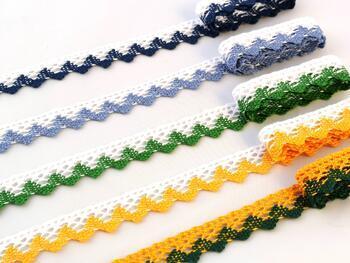 Paličkovaná krajka 75259 bavlněná, šířka17 mm, bílá/trávová zelená - 2