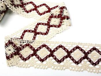 Bobbin lace No. 75608 cream/cranberry | 30 m - 2