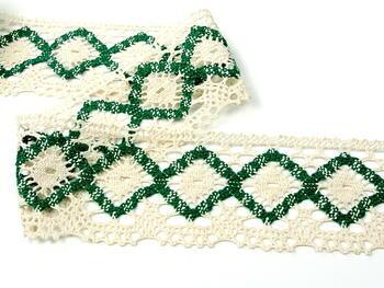 Bobbin lace No. 75608 cream/green | 30 m - 2