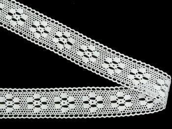 Paličkovaná krajka vzor 75622 bílá | 30 m - 2