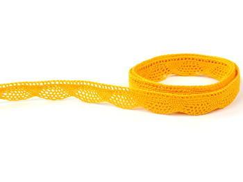 Paličkovaná krajka vzor 75629 tmavě žlutá | 30 m - 2