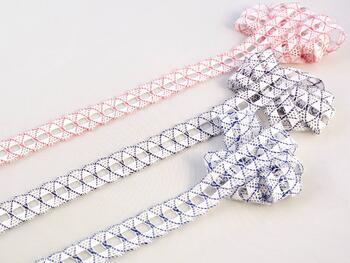 Cotton bobbin lace 75169, width 20 mm, white/royal blue - 2